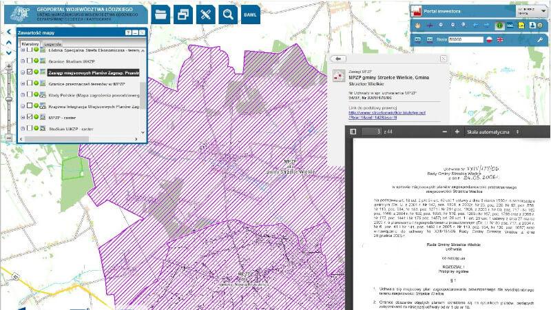 Warstwa Zasięgi Miejscowych Planów Zagospodarowania Przestrzennego dla gminy Strzelce Wielkie wraz z danymi opisowym