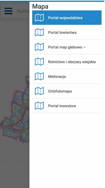 zrzuty ekranowe z aplikacji mobilnej Geoortalu Województwa Łódzkiego
