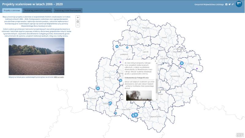 widok startowy mapy zatytułowanej Projekty scaleniowe w latach 2006-2020