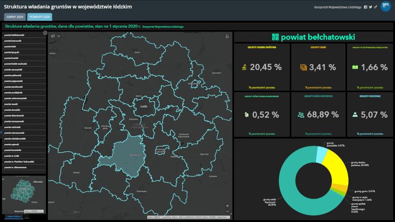 widok startowy mapy zatytułowanej Struktura władania gruntów w województwie łódzkim