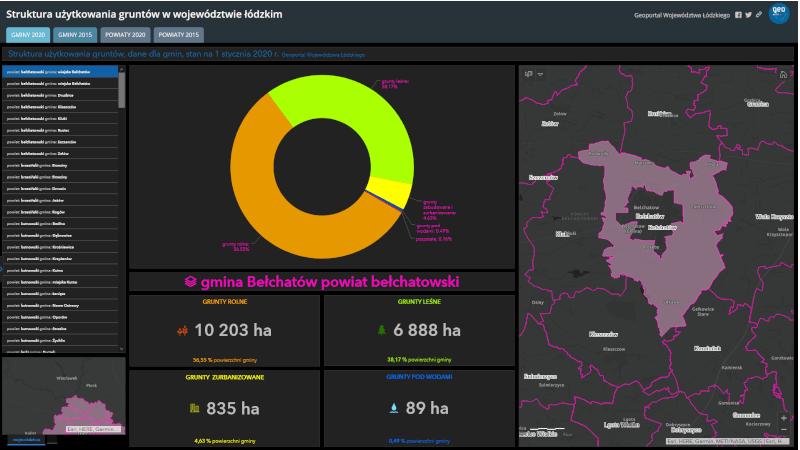 widok startowy mapy zatytułowanej struktura użytkowania gruntów w województwie łódzkim