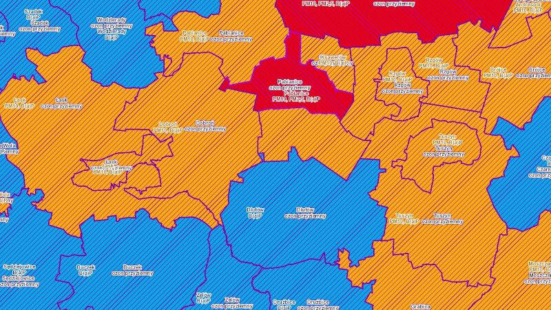Grafika dla grupy map: Ochrona środowiska, Jakość powietrza