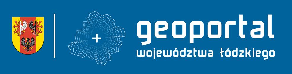 logo geoportalu z pełną nazwą i herbem województwa na niebieskim tle