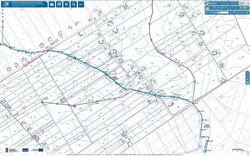 fragment mapy z rowami melioracyjnymi