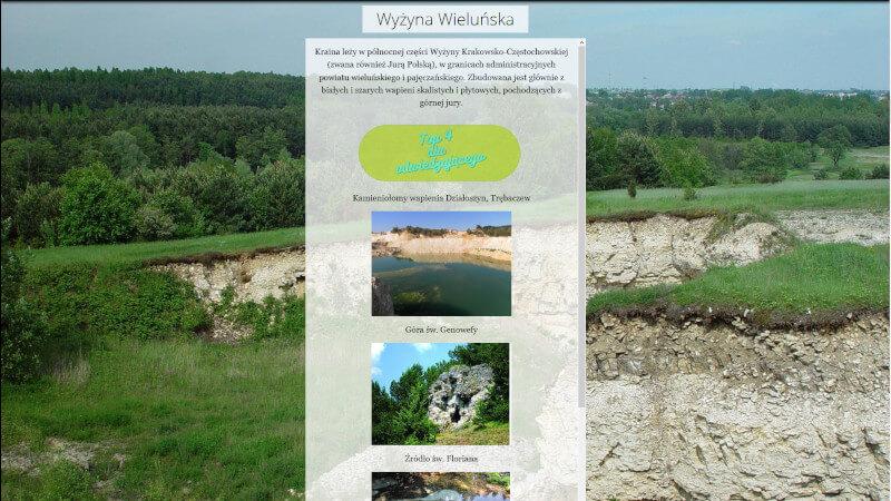 obrazek przedstawia fragment aplikacji pt.: informator geoturystyczny. na zdjęciu widać propozycje obiektów geologicznych do zwiedzania na terenie wyżyny wieluńskiej