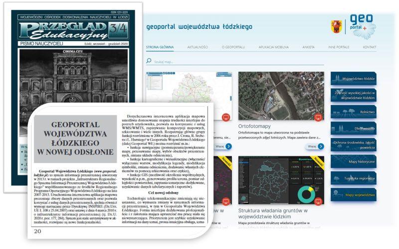 grafika przedstawia okładkę pisma Przegląd Edukacyjny, fragment artykułu oraz stronę startową Geoportalu Województwa Łódzkiego