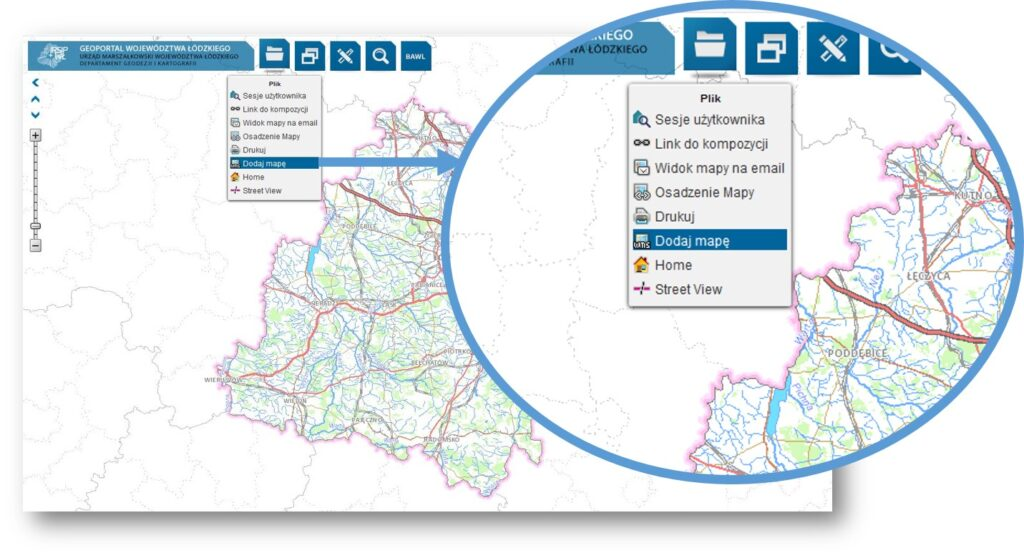 grafika przedstawia geoportal województwa łódzkiego z rozwiniętym menu Plik i zaznaczonym narzędziem Dodaj mapę