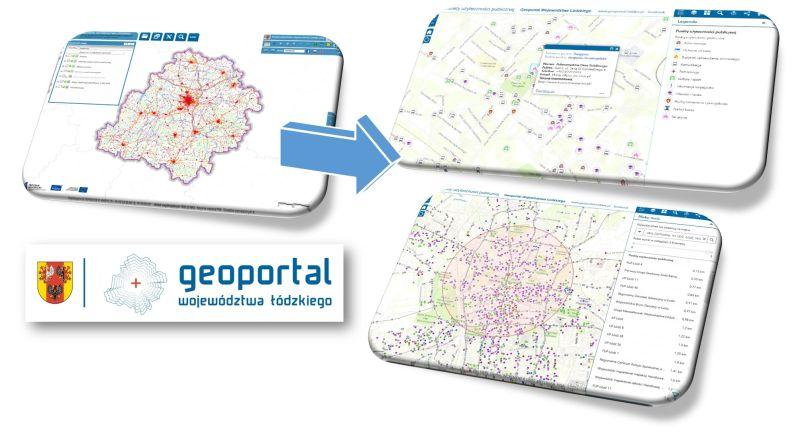 obraz przedstawia mapę o nazwie punkty użyteczności publicznej wersję poprzednią i obecną