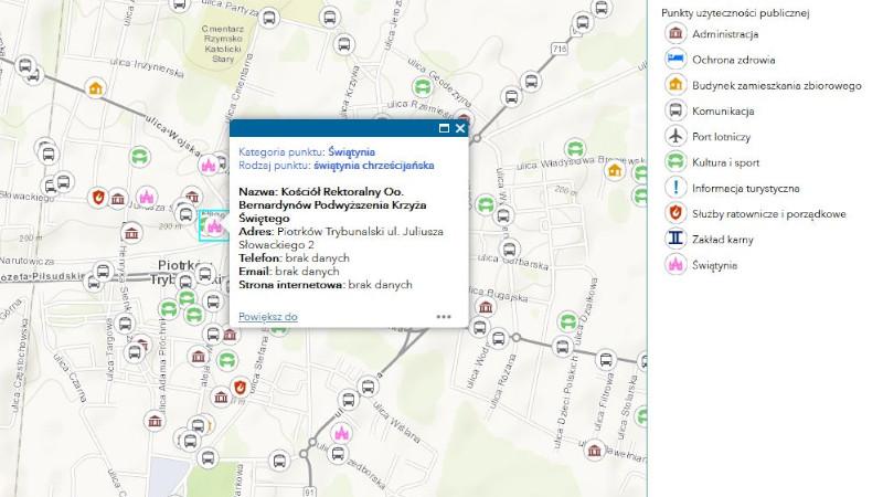 Grafika dla mapy: Punkty użyteczności publicznej