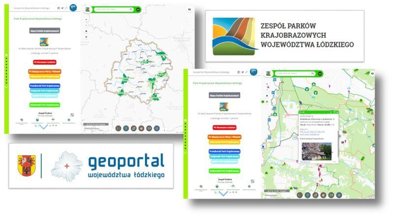grafika przedstawia loga geoportalu wł i zespołu parków krajobrazowych oraz stronę startową aplikacji i jednej z map parków