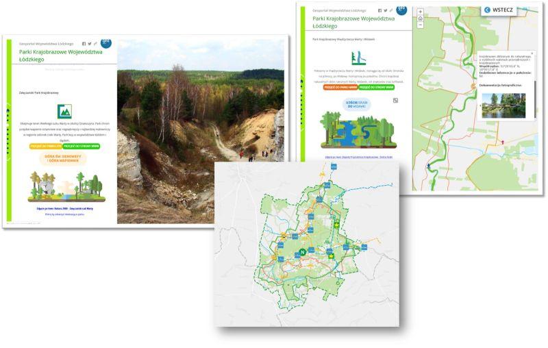 grafika przedstawia fragmenty opisów, zdjęcia i mapę Załęczańskiego Parku Krajobrazowego