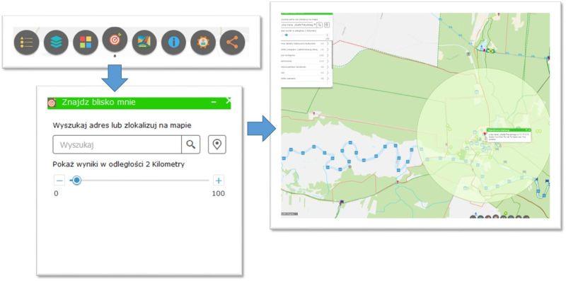grafika przedstawia ikonę narzędzia Blisko mnie, okno z parametrami i wynik użycia z zaznaczonym buforem w terenie