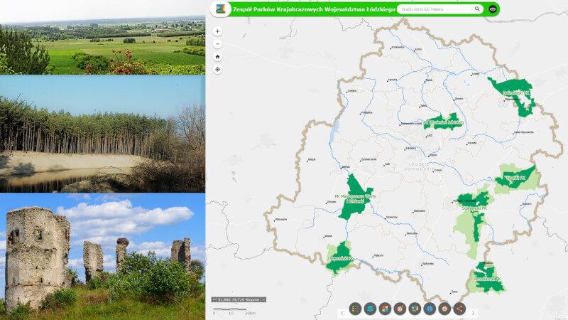 Grafika dla mapy: Parki Krajobrazowe Województwa Łódzkiego