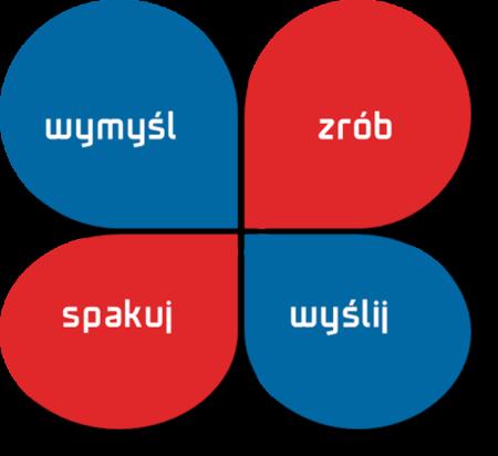 koniczyna niebiesko-czerwona z napisem wymyśl, zrób, spakuj, wyślij